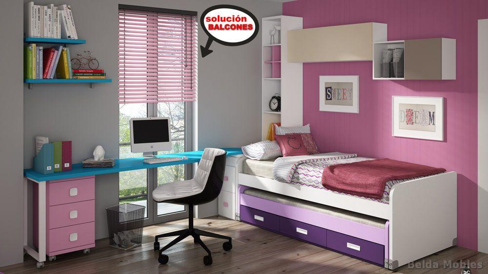 Cama compacta 1 muebles belda for Mueble auxiliar dormitorio