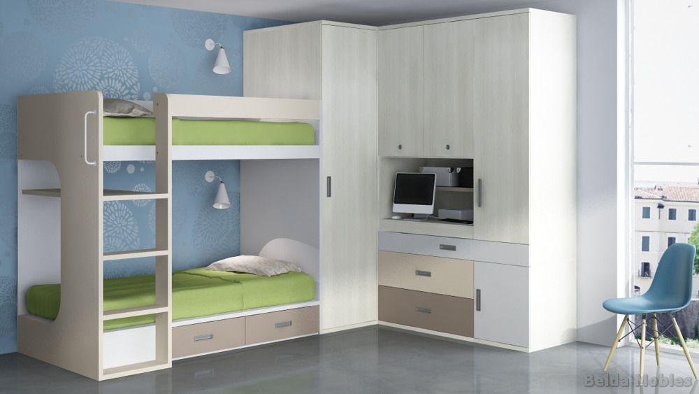 Literas para habitaciones juveniles e infantiles - Dormitorios con literas para ninos ...