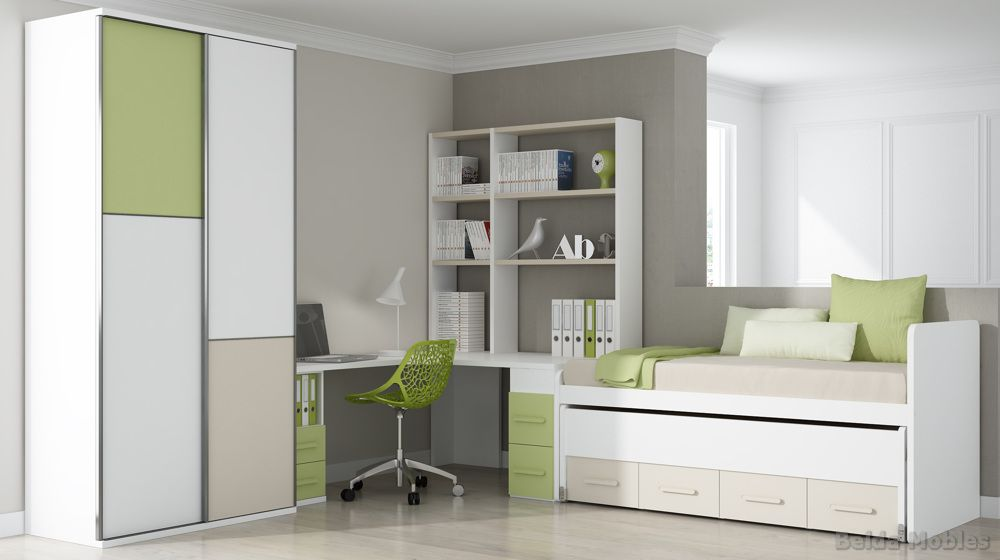 Cama compacta 3 muebles belda for Cama compacta con escritorio