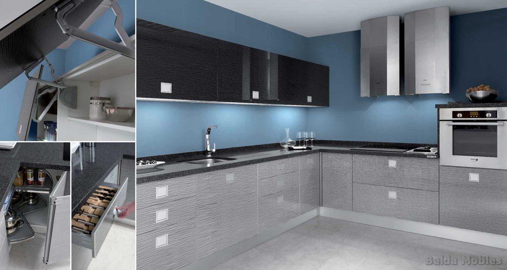 Cocina moderna 3 muebles belda for Cocinas blancas y grises fotos