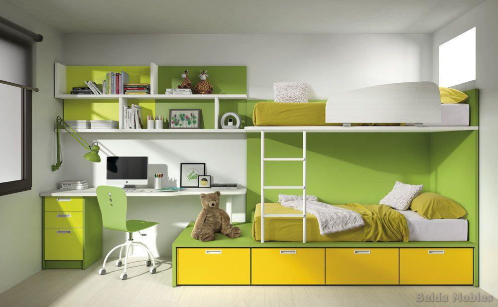 Literas para habitaciones juveniles e infantiles - Habitaciones infantiles dobles poco espacio ...