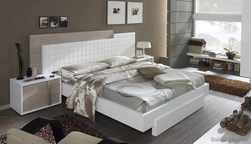Cama tapizada 6 muebles belda for Dormitorios de matrimonio blancos