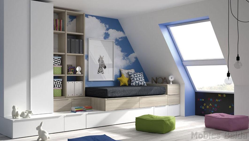 Cama compacta 4 muebles belda for Medidas cama compacta
