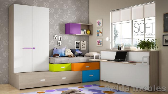 Cama compacta 10 muebles belda for Medidas cama compacta