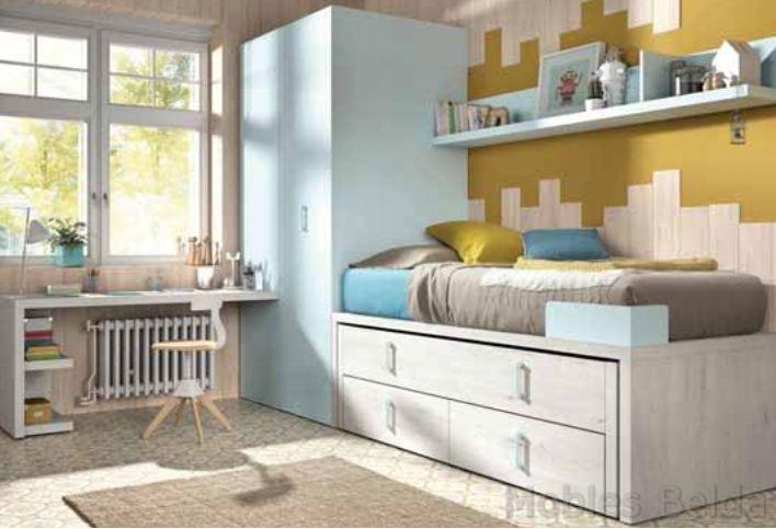 Cama compacta 14 muebles belda for Medidas cama compacta